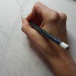 Studio shot of Tolan working on Plant portrait series
