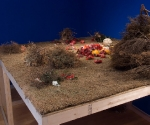 Beloved,  installation, painted room, platform, sod, branches, roots, shrubs, silk flowers, bees wax, 2005-2006