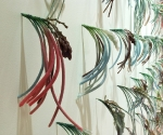 "Summerland,  detail (wall installation), plastic grasses, pigmented bees wax, 76"" x 144"",   2005-06"