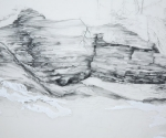 """Floating World II (detail), mylar drawing with graphite, gouache,  24 x 36"""",  2011"""
