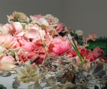 Banquet, (detail/photograph) table installation of vegetation, silk and plastic flowers, wax, 12' x 4' x 4'